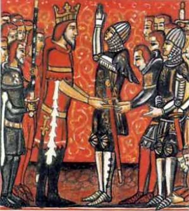 Roland (right) receives the sword, Durandal, from the hands of Charlemagne (left).