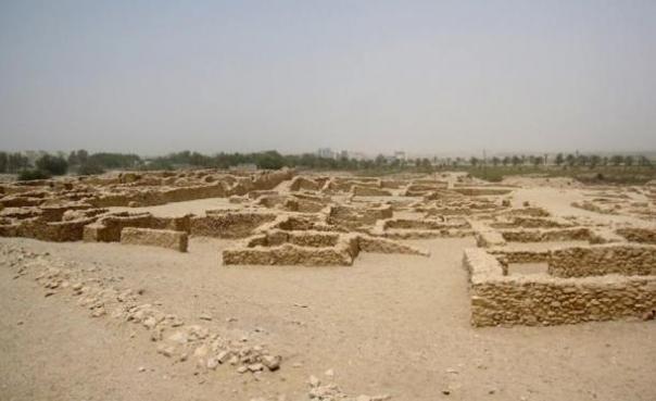 Cámaras funerarias de Saar templo también se dice que son de la época Dilmun.  Saar, Bahrain.