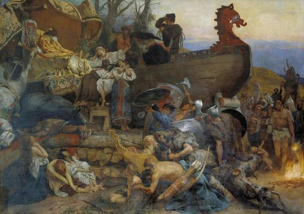 Ship burial of a Rus chieftain as described by the Arab traveler Ahmad ibn Fadlan who visited Kievan Rus in the 10th century.