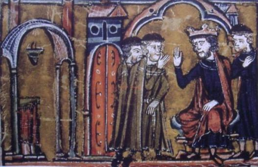 BaldwinII ceeding the location of the Temple of Solomon to Hugues de Payns and Gaudefroy de Saint-Homer. The fourth person is Warmund, Patriarch of Jerusalem.