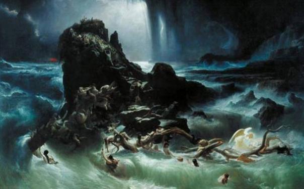 """""""El diluvio"""" por Francis Danby, 1840."""