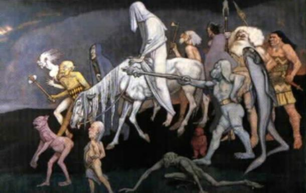 The Fomorians, John Duncan's interpretation of the sea gods - 'the bad elves' of Irish mythology.