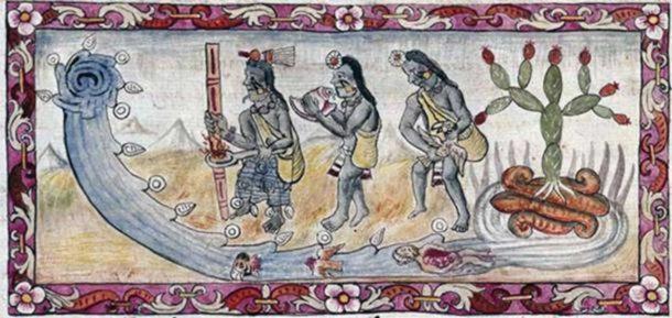 Le inondazioni più mortali e dirompenti sarebbero discusse per gli anni a venire. Qui gli Aztechi eseguono un rituale per placare gli dei arrabbiati che hanno inondato la loro capitale. ( Dominio pubblico )