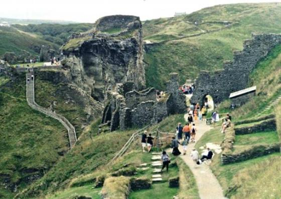 The remains of Tintagel Castle in Cornwall, the legendary place of King Arthur's birth.