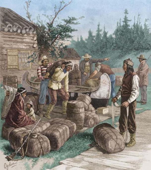 Trading presso una postazione commerciale della Hudson's Bay Company. (Dominio pubblico)