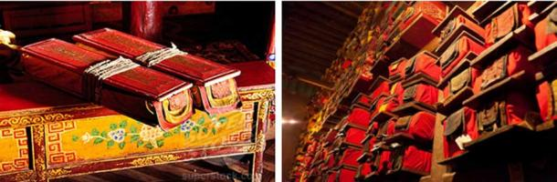 Two carefully wrapped ancient Tibetan books – A Tibetan monastery library