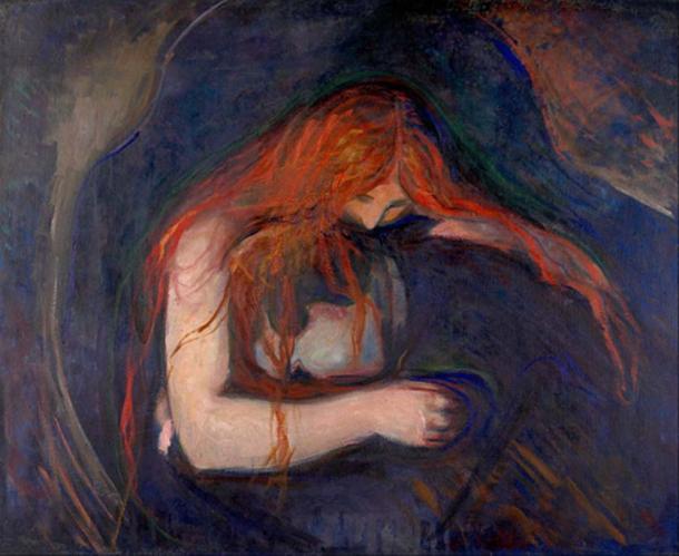 'Vampire' (1895) par Edvard Munch.  (Domaine public)