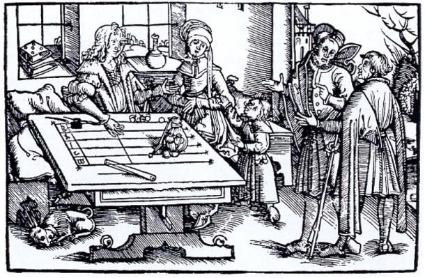Xilografia di persone a una tabella di calcolo (probabilmente da Strasburgo), in cui sarebbero stati utilizzati gettoni.