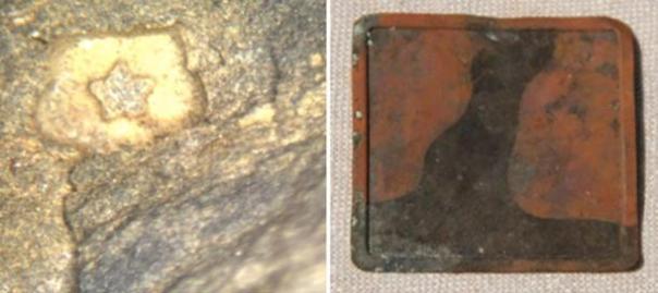 [Izquierda] 1,0 mm estrellas bajorrelieve lava con pigmento de cuarzo translúcido azul con cartela reflexivo [Derecho] artefacto de cobre de 4,7 cm