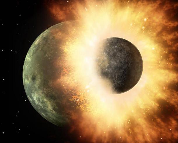 rappresentazione artistica di una collisione tra due corpi planetari.