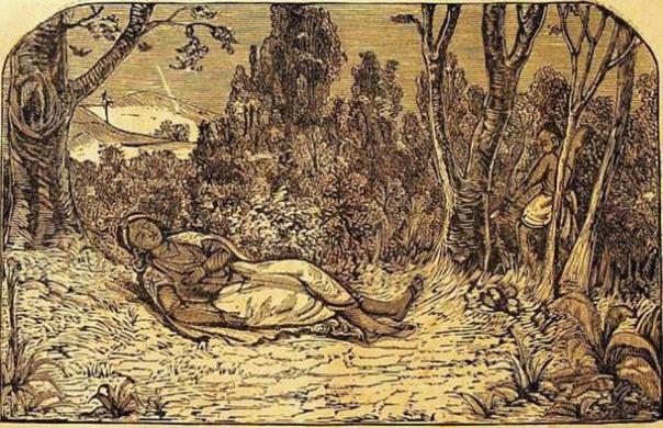 La talla de madera que representa la muerte de Krishna.