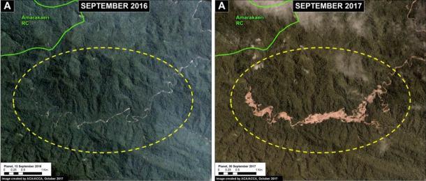 Ces images montrent comment l'extraction illégale d'or entraîne la déforestation dans la zone tampon de la réserve communale d'Amarakaeri.  (SERNANP / Suivi du projet Amazonie andine)
