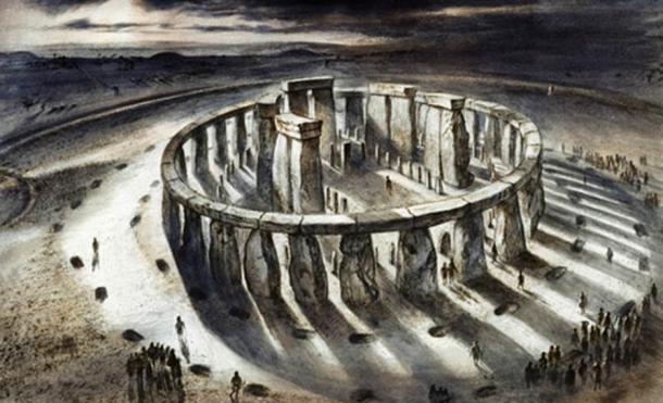 Disegno ricostruzione di Stonehenge come poteva sembrare a 1000 aC da Alan Sorrell