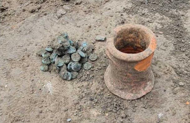 The 6th century coins found at the ancient city of Phanagoria in Russia. Source: Institute of Archaeology of the Russian Academy of Sciences