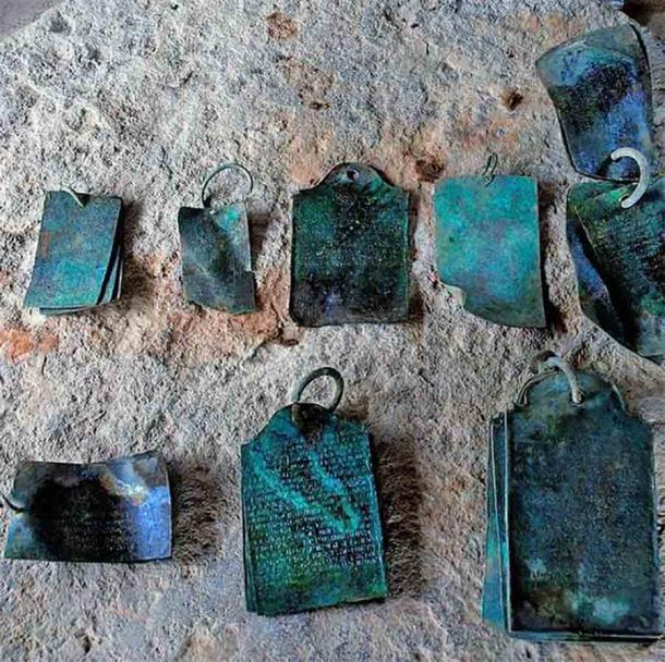 Six sets of copper plates that were discovered at the Ghanta Matham in Srisailam in June 2021.