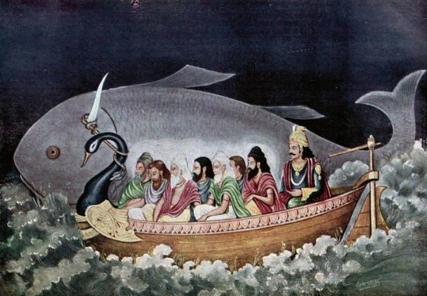 Ci sono analogie tra la leggenda diluvio indù di Manu e il racconto biblico di Noè.  Qui il pesce avatara di Vishnu salva Manu durante il grande diluvio.