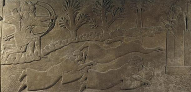 """The escape of enemies across a river"" depicts men using floatation devices to cross a river in the 9th century BC (or men diving underwater and using air-filled bladders as breathing gear)."