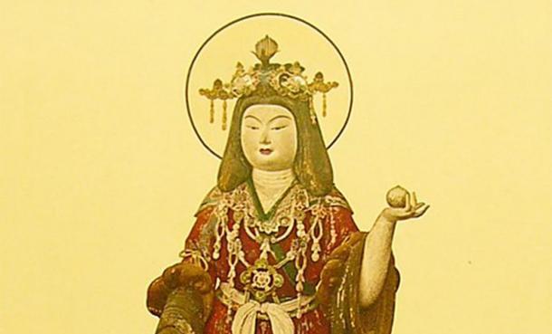 The Japanese goddess Kisshōten holding the wish-fulfilling gem (Public Domain )