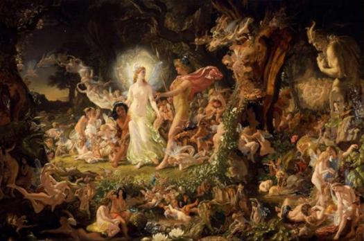 """Throughout the ages different interpretations of the Underworld remain a popular construct of cultural mythology, but its essential character as a unseen realm populated by mysterious beings remains intact."" Joseph Noel Paton's 1849 painting of Oberon and Titania, fairies from Shakespeare's Midsummer Night's Dream."