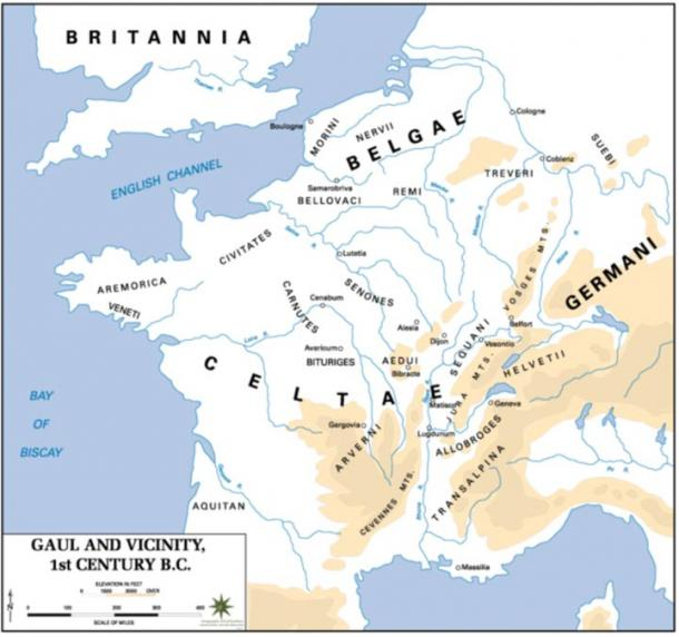 A map of Gaul in the 1st century BC