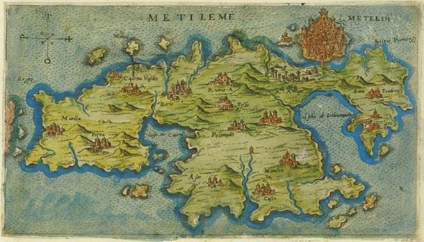 A (1597) carte de Lesbos (Mytilène), lieu de la naissance de Barbarossa.