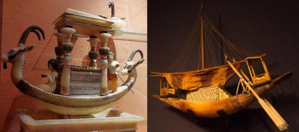 Dos ejemplos de maquetas de barcos de la tumba de Tutankamón, de una exposición en París en 2012 y en Berlín en 2013