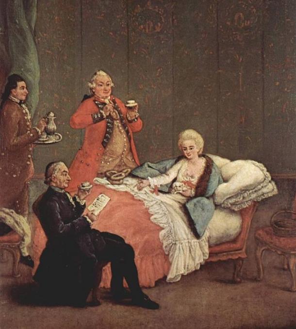 Cioccolato divenne ben presto una bevanda alla moda della nobiltà dopo la scoperta delle Americhe. Il cioccolato mattina di Pietro Longhi