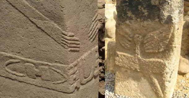 Hands come together on the omphalos, or navel on monuments at many locations. Left: Gobekli Tepe. Right: Azerbaijan. Image via Özgür Etli.