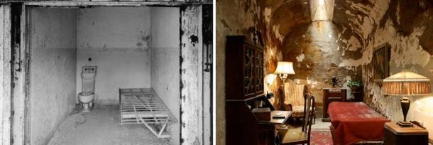 À gauche: une cellule ordinaire du pénitencier de l'État de l'Est.  À droite: la cellule d'Al Capone.