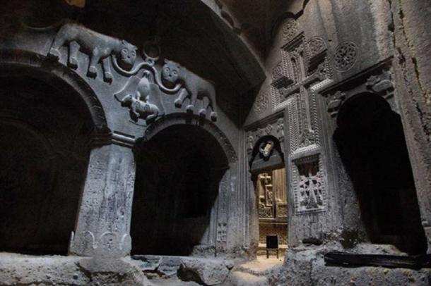 A rock-cut chamber within the temple of Geghard, 13th century Armenian monastery.