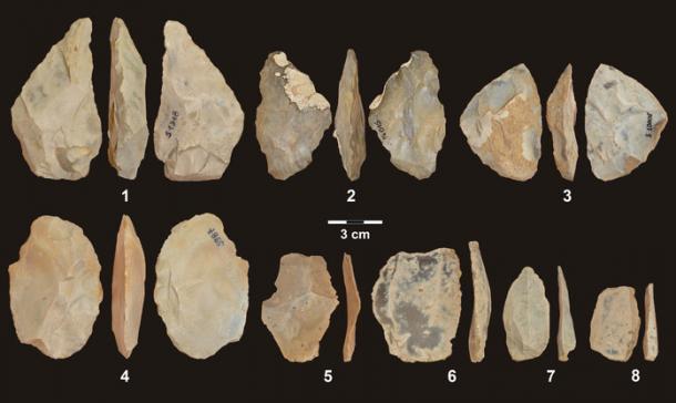 Stone tools found at Stajnia Cave in Poland. (Andrea Picin)