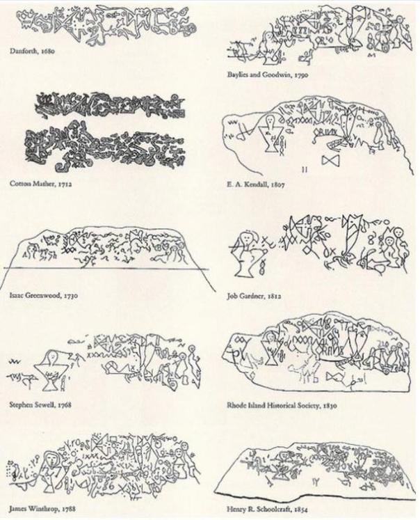 Un resumen de algunas de las interpretaciones de los petroglifos Dighton Roca.