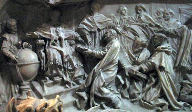 Particolare della tomba di Papa Gregorio XIII che celebra l'introduzione del calendario gregoriano.