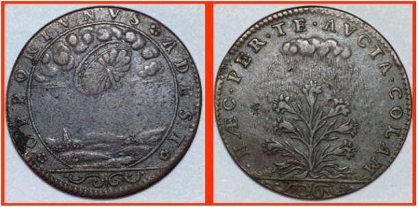 I due lati del jeton, uno con l'immagine circolare nel cielo e l'altra con una pianta e pioggia.
