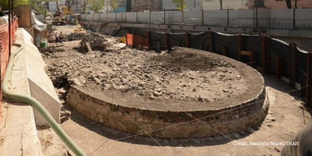 The foundations of the unearthed temple to in Mexico City.