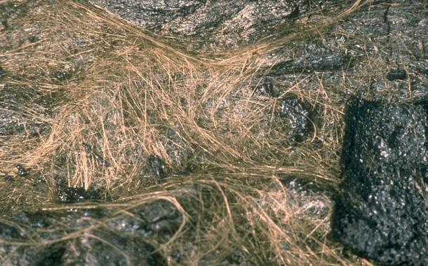 Pele's hair, volcanic glass in strands.
