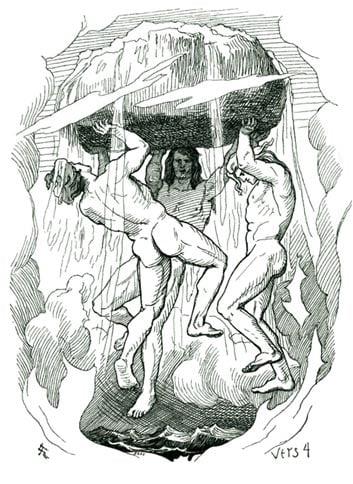 Una representación de Óðinn, Vili y Vé (Odin, Vile y Ve) la creación del mundo por Lorenz Frølich.