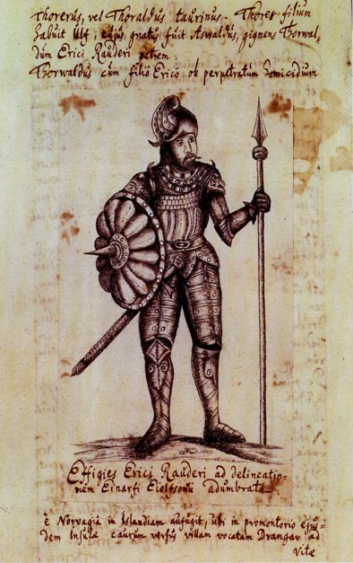A woodcut of Erik the Red from a 1688 book