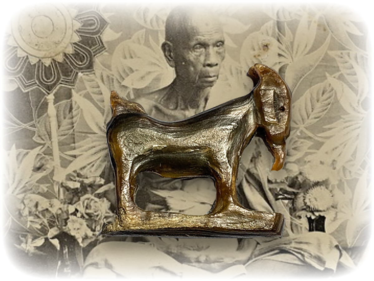 Luang Por Am Top Master of Carved Lucky Goat Amulets