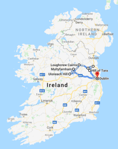 Ancient Irish Gods and Kings Tour Map