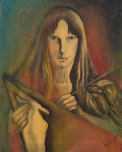 Autoritratto con tela (1977) by Francesca Ghizzardi