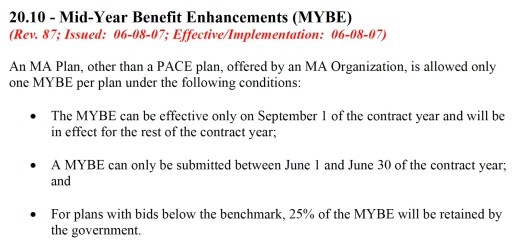 Excerpt from CMS MMCM manual Chapter 4 defining mid year benefit enhancements