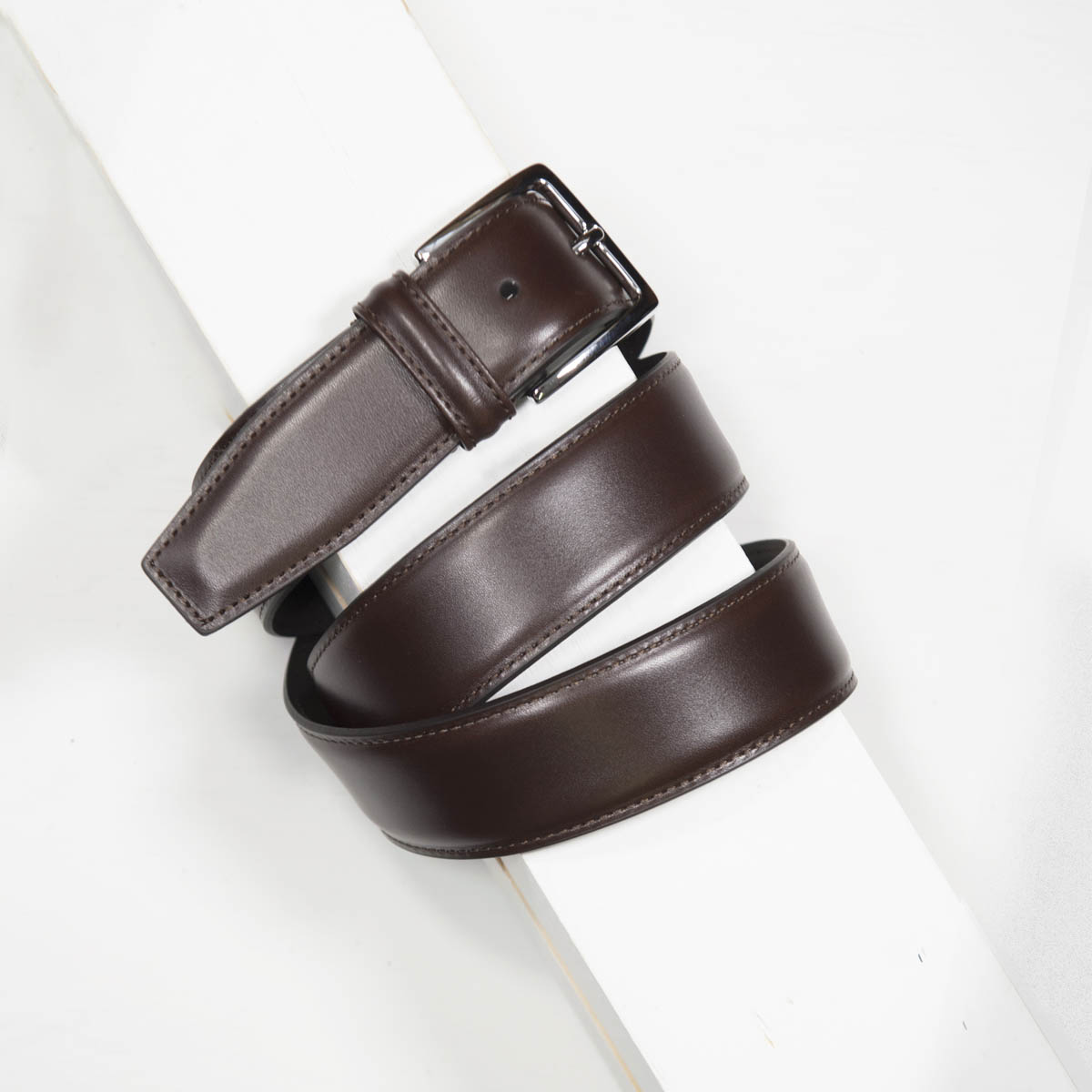 3,5 cm CLASSIC BROWN STITCHED BELT