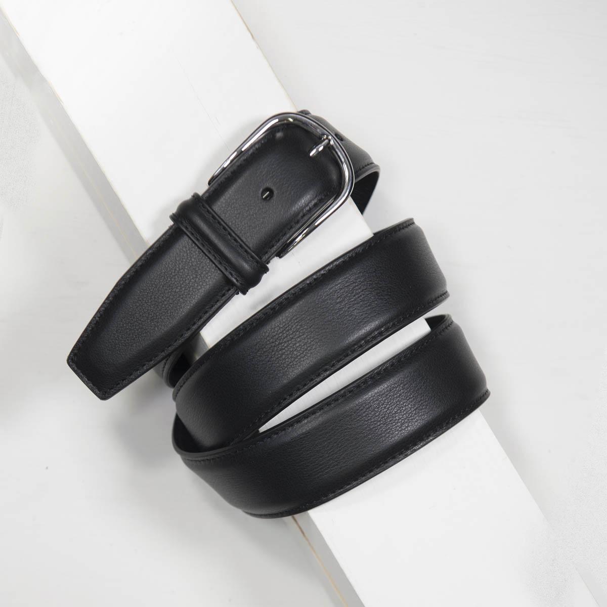 3,5 cm CLASSIC BLACK STITCHED NAPPA BELT