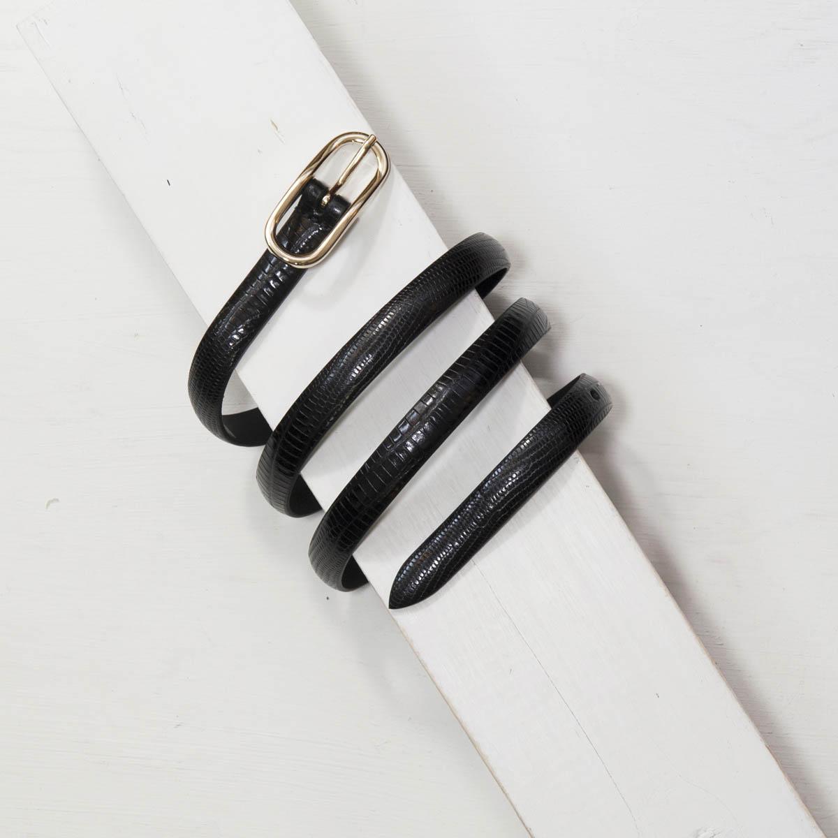 1,5 cm BLACK SLIM LIZARD PRINT BELT