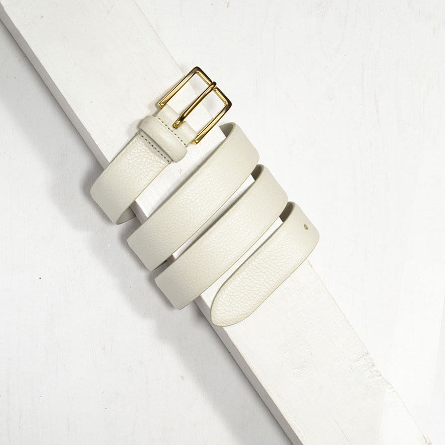 3,0 cm OFF WHITE GRAINED LEATHER BELT