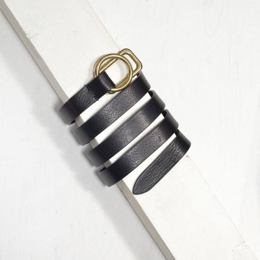 2,0 cm BLACK SLIM ROUND/RECTANGLE BUCKLE BELT