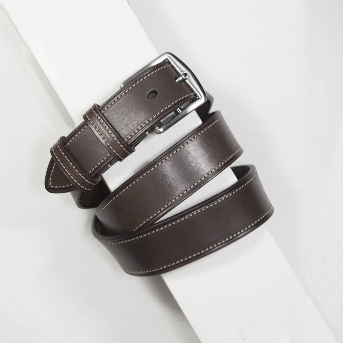 3,5 cm CLASSIC BRIDLE STITCHED LEATHER BROWN BELT