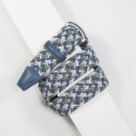 3,5 cm CLASSIC MULTI COLOUR ELASTIC WOVEN BELT BLUE/SKY/TAUPE/CREAM