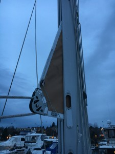 Mainsail with new clew webbings, UV cover, and leech cord block/cleat